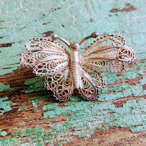 Vintage 800 Silver Filiegree Butterfly Brooch Pin